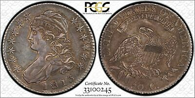 Gorgeous 1813 Bust Half Dollar PCGS AU 53 Original Surfaces 50 Cent