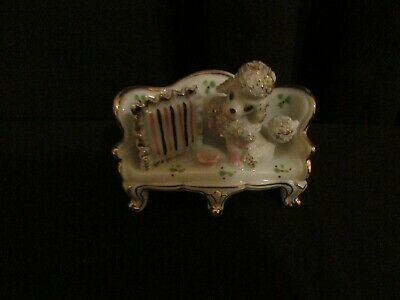 *Rare* Vintage White Gold Trim Spaghetti Poodle on a Couch Porcelain Figurine