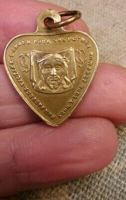 Rare Antique 1900 Solid Brass Jesus Face Shroud Heart Medal French