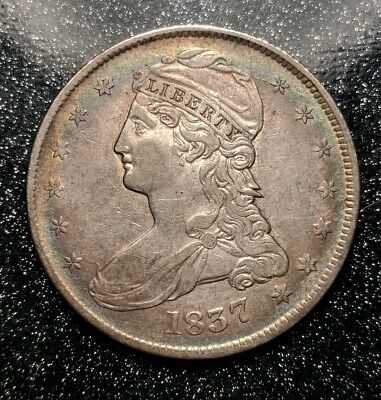 1837 Philadelphia Mint Silver Capped Bust Half Dollar Reeded Edge Ch AU Beauty!!
