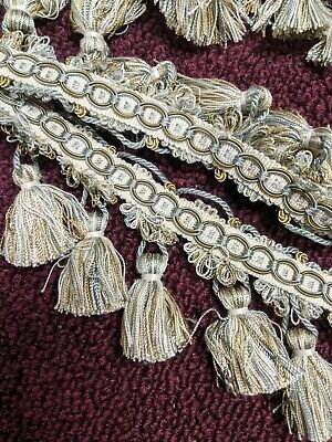 3 yards gold & green/teal designer tassel trim