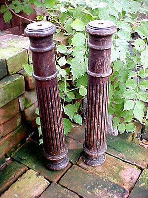 Antique Victorian Oak Fluted Piano Column Set Stressed Shabby Chic Architectural