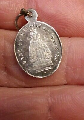 Antique 1890S Sterling 800 Silver Black Madonna Mary Baby Jesus Medal French