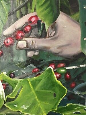 """Picked With Love"" Original Coffee Plantation Painting Wall Art by Keri Orozco"