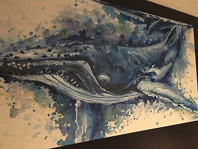 """Grace"" Colourful Large Original Whale Painting Wall Art by Keri Orozco"