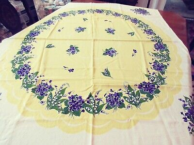 """VINTAGE 50'S TABLE CLOTH 42"""" X 52"""" YELLOW w LILY OF VALLEY & VIOLETS  GORGEOUS!!"""