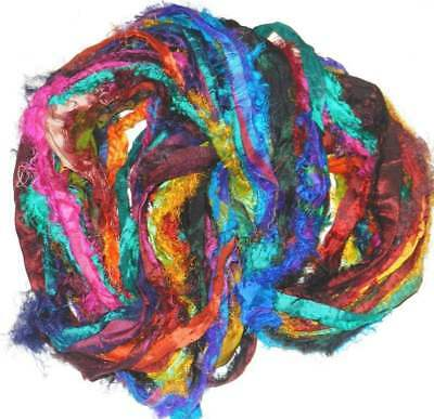 FREE S/&H  100 gr Sari Chiffon Blend2 multi craft ribbon yarn jewelry making