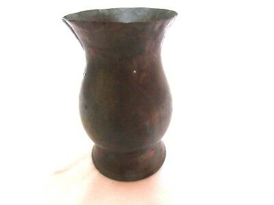 Primitive Antique Copper Hand Hammered Pint Cup- Missing Handle-Stamped Pint