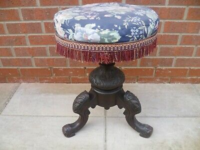 Antique Ornately Carved Adjustable Height Piano Stool, Padded Seat