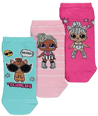 Girls L.O.L. Surprise Ankle Socks 3 Pack lol Sizes 6 infant - 5.5UK