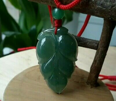Genuine Grade A certified Jadeite Jade Pendant oil Green Leaf 葉子