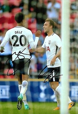 DELE ALLI & ERIKSEN - Hand Signed 12x8 Photo - Tottenham Hotspur Spurs Football