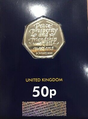 New 2020 Certified - Brilliant - Uncirculated Brexit 50P Coin - Change Checker -