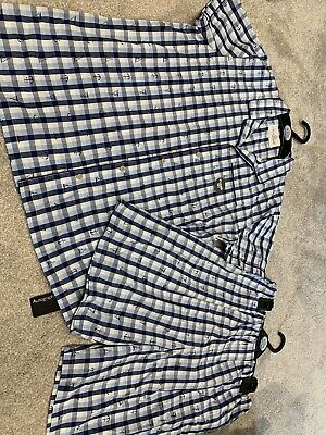 Bnwt New Boys Marks And Spencer Autograph Blue Check Cotton Pyjamas M&S Pjs