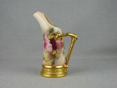 Antique Royal Worcester Jug Style 1116 - Painted With Roses And Signed Fildes