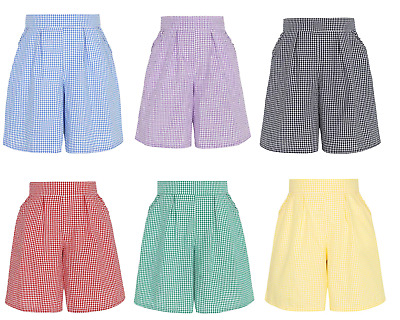 Girls Gingham Pleated School Shorts Elasticated Waist Culotte Cut Ages 3-14