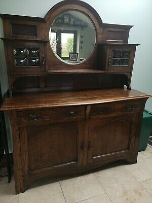 Antique Arts And Crafts Dresser / Drinks Cabinet Unit With Mirror