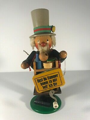Vintage, German Steinbach Volkskunst smoker burner peddler nutcracker music box