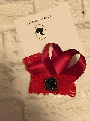 Satin lace Red Bow Fascinator Wedding Races Prom Ascot dance Headpiece Clip