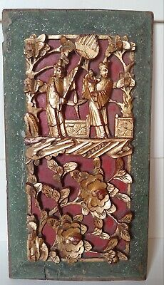 Antique Vintage Chinese Deep Carved Wood Hanging Panel Red & Gilt Gold Finish