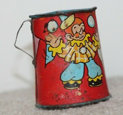 Antique Vintage Childs Toy Tin Litho Metal Pitcher * Girl & Geese * Sweet *