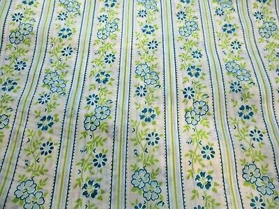 "VINTAGE 1960's POLYESTER/COTTON BLEND? BLUE GREEN FLOWERS FABRIC 46"" x 2.5 Yards"