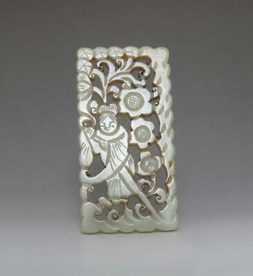 Perfect Chinese Carved Natural He Tian Jade Pendant Statue (582)