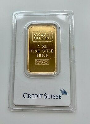 1 Oz Credit Suisse 999.9 Gold Bar Bullion #868796 With Assay Certificate