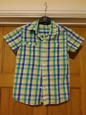 Boys short sleeved checked shirt 8-9 years. George. Turquoise yellow and white.