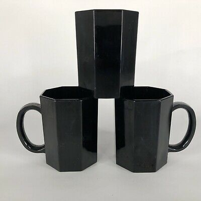 3 Arcoroc Black Octime Mugs Octagon Glass Set Made France Coffee Cups