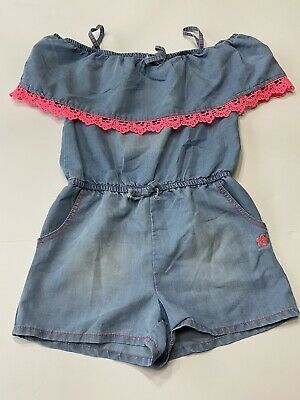 Limited Too Girls Size 10 Chambray & Hot Pink Romper