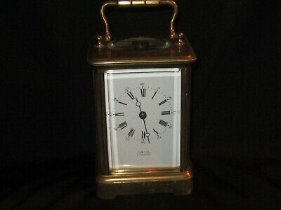 Antique French Brass Carriage Clock Time & Strike On Bell Working