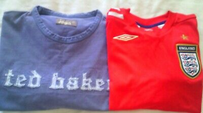 BOYS 2 T-SHIRTS BLUE TED BAKER JEAN SIZE 4 RED ENGLAND FOOTBALL SIZE 152cm 12YRS