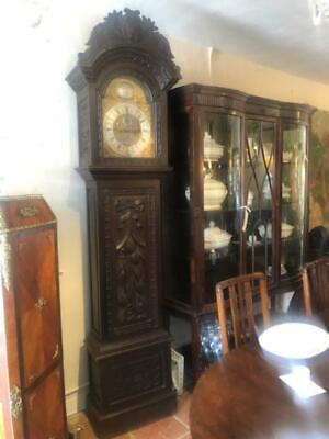 Antique Large Carved Oak 8 Day Brass Faced Musical 5 Chime Grandfather Clock.