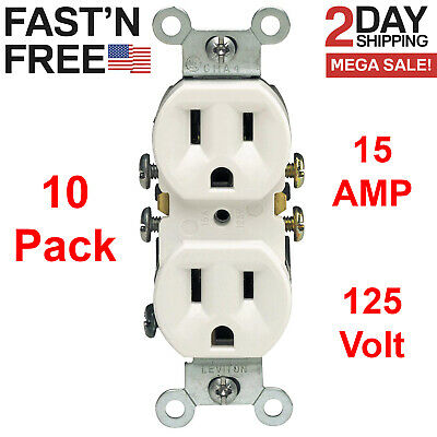 10 Pack Electrical Outlets 125 V 15 Amp Receptacle Wall Plug Residential Socket