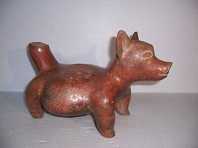 Pre-Columbian Mexico Colima Cultutre Dog Effigy Pottery Vessel Artifact