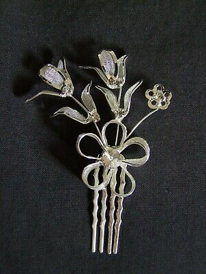 Silver diamante flower hair comb for wedding/prom