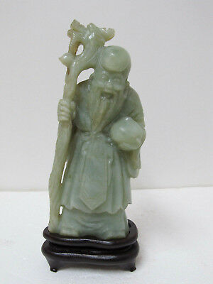 Fine Old Chinese Nephrite Jade Carved Longevity Old Man Figurine 6-7/8""