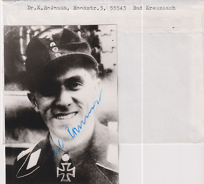 Signed photo Luft Oberlt. Karl Rossmann-Rgt. G.G.-Knights Cross/Oakleaves