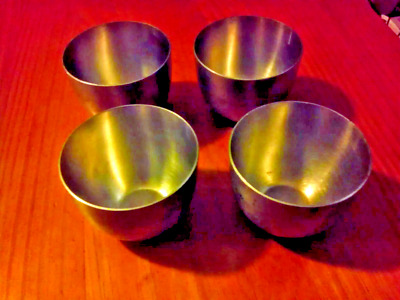 """Set of Four Antique """"Pewter by Poole"""" 2202 cups!"""