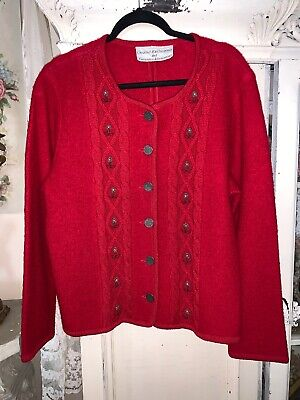 Beautiful VTG Womans XL Red Wool Cardian Sweater by Creative Memories Embroidery