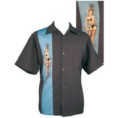 US Size S Steady CONTRAST CROWN Panelled Rockabilly Bowling Shirt Rust 3XL