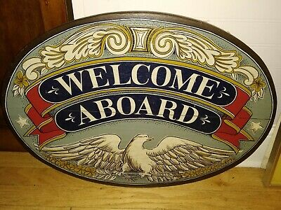 Beautiful Antique Arts and Crafts Large Wood Wooden Sign Pub Bar Ship Art Thick
