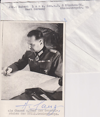 Signed photo & letter Heer Generalleutnant Hubert Lanz - Knights Cross/Oakleaves