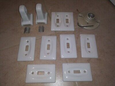 Mix lot of Vintage 10 Porcelain Ceramic Wall Plates Light Base Bath Paper Holder