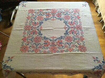 "VINTAGE HANDMADE TABLE CLOTH EMBROIDERED BIRDS -  HEARTS -  FLOWERS ~ 46""x 50"""