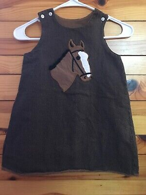 The Bailey Boys Reversible Houndstooth Horse Jumper Dress Girls Brown Size 4