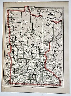 Original 1883 Color  Map Of Minnesota  From Crams  Atlas Of The World