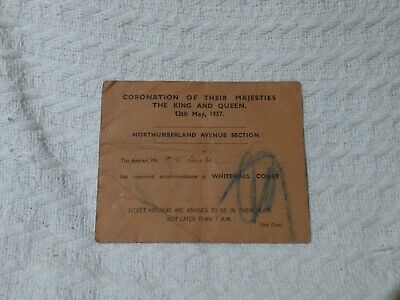Vintage King George VI Coronation Ticket Pass 12 May 1937 Whitehall