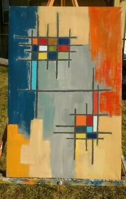 Mid  Century Modern Style Abstract Modernist Brutalist Painting Signed